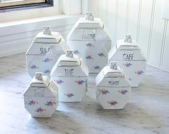 Antique French Canister Set, Porcelain, Silver Trim, Flowers, Six Piece Set