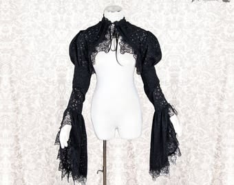 Victorian style shrug, gothic bolero, black lace, gothic, steampunk, Somnia Romantica,size medium - large, see item details for measurements