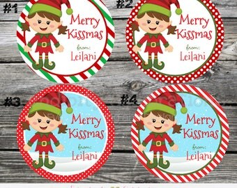 Elf Kisses favor tags, Elf Kisses Stickers, Christmas labels, personalized tags, personalized stickers, Christmas Elf Kisses favors, Elf tag