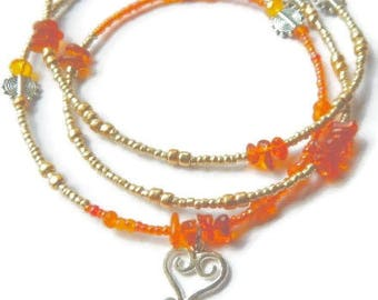 Amber Sankofa Waist Beads,  Ancestor Blessings Adinkra Waistbeads, Amber Waist Beads, Sankofa Waist Beads, African Belly Chain