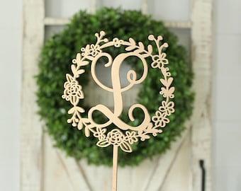 Wreath Initial Cake Topper