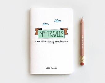 Stocking Stuffer Mint Midori Travelers Notebook & Pencil Gift Set, Personalized Journal, My Travels Daring Adventures