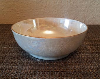 T&V / Tressemann + Vogt Limoges France Pearlescent Lusterware Bowl with Gold Rim