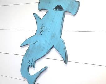 Hammerhead Shark Fish Art Coastal Wall Decor Shark Art Boys Room Decor Wooden Shark