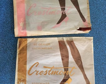 2 x Unused 50s 60s 'Crestmont' Stockings, dark skintones Asian/black