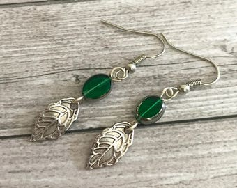 Green Leaf Glass earrings - long green earrings - Botanical Jewelry - Nature inspired - Gift for here - Gift for girls - bohemian earrings