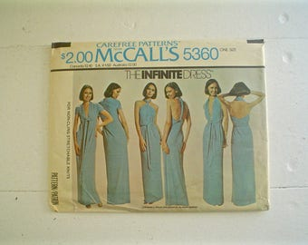 McCall's 5360 The Infinite Dress 1970s Vintage Dress Pattern for Knits Unused