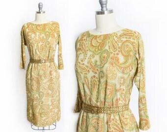 Vintage 1960s Dress - Metallic Gold Lame Paisley Printed Wiggle Dress 60s - Small