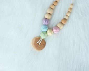 Pastel Rainbow Button Teething Necklace - Juniper Wood