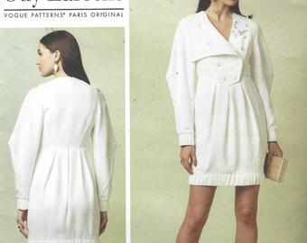 Guy Laroche Womens Princess Seam Dress Military Bib Bubble Hem Vogue Sewing Pattern V1548 Size 14 16 18 20 22 Bust 36 to 44 FF Vogue Paris