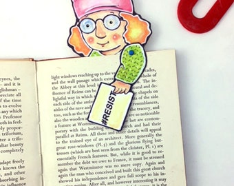Pink Pussy Hat Articulated Paperdoll Bookmark, Gift for Feminist Family or Friend