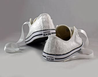 Ready to ship White Lace Wedding Converse - Ready to ship SIZE 8 White Lace Bridal Converses --White Lace Converse -- Wedding Tennis shoes