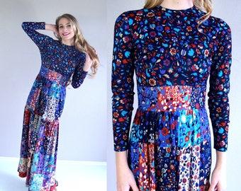vtg 70s Bohemian PATCHWORK CALICO Maxi DRESS xs navy blue floral stars folk print hippie indie boho festival