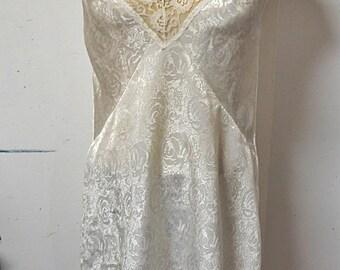 Cream Brocade chemise night gown Kasara Large    #204