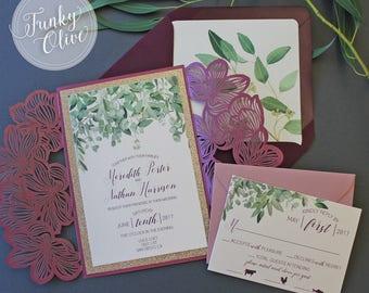 Burgundy Laser Cut Wedding Invitation Package Marsala Blush Greenery Eucalyptus Gold Glitter Response Card DEPOSIT or SAMPLE