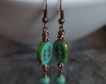 Rustic Turquoise Oval Earrings - Chunky Oval 3 Dot Picasso Czech Glass Vintage Copper Earrings, Earthtone Jewelry -  jingsbeadingworld
