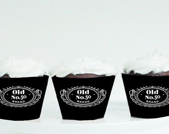 Jack Daniels Cupcake Wrappers, 50th Birthday, 50th Birthday decor, Jack Daniels decor, Jack Daniels party, Old No.50