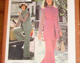 Vintage 1970s Sewing Pattern Simplicity 8196 Butte Designer Knit Top, Duster Tunic, Pants Womens Misses Size 14 Bust 36 Uncut Factory Folds
