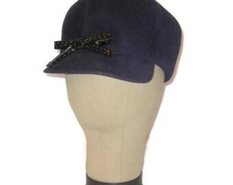 1960s MOD Hat, MOD Hat, Mod Blue Felt Hat,  Scooter Hat, Blue Peak Hat, Go Go Hat, Navy Blue Hat, Cap Brim, 60s Newsboy Hat, Dark Blue Hat