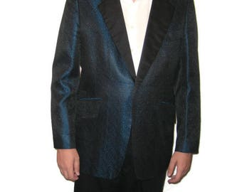 50s Mens Evening Jacket, Black Blue Jacket, Blue Black Dinner Jacket, Smoking Jacket, Playboy Jacket, 1950s Patterned  Tux Jacket
