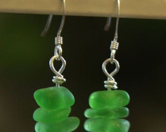 Green Sea Glass with Sterling Paddles