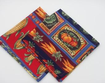 Farm Fresh Napkins, Lunchbox Napkins, Set of 2, Cocktail Napkins, Small Napkins, Cloth Napkins, Small Cloth Napkins