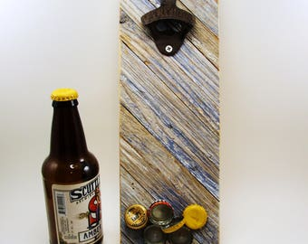 wall mount bottle opener magnet cap catcher upcycled wood blue white