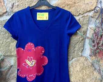 Navy Blue Flower Tshirt, Hand Painted Tee, Red Flower , Woman's Fashion