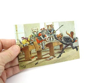 Comic Cats Postcard. Antique 1910s Germany Collectible. Artist Signed Arthur Thiele. School Room Mouse Mania. Dressed Animals.