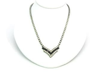 Black V Necklace. Jet Black Rhinestones, Clear Crystal Chevron Centerpiece. Special Occasion. Vintage 1970s Geometric Jewelry.