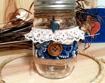 Decorated Jar, Decorative Mason Jar with Texas Charm and Burlap, Texas Farmhouse Table Decor, Texas Ranch Style, Texas Decoration, Jar light