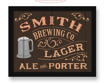 Custom Brewery sign - Customizable with your Name or Town - Beer making sign - Home brew - Micro brewery bar sign - Man cave home bar decor