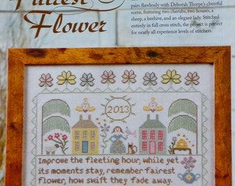 Cross Stitch Pattern | FAIREST FLOWER | SAMPLER | Deborah Thorpe | Counted Cross Stitch Pattern | Chart | fam