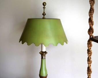 Vintage 1960s Olive Green Norman Perry Lamp - Mid-Century, Hollywood Regency