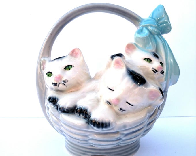 Vintage 1960's Kittens in a Basket Ceramic Planter Container