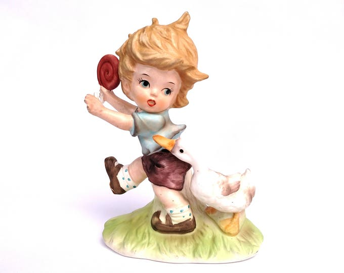 Vintage 1960's Boy with Lollipop Being Chased by a Goose Ceramic Figurine