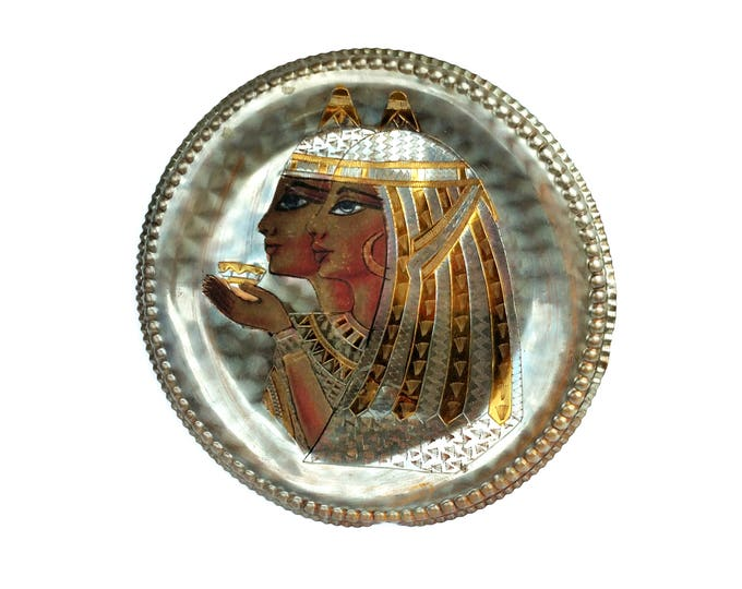Vintage 1970's Metal Plate with Egyptian Ladies