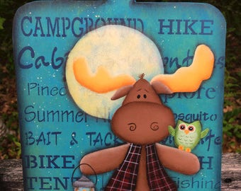 camping sign, cabin decor, summer decor, camp decor, wood moose sign, moose decor, hand painted wood sign, woodland animals,country prim