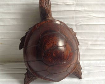 Hand Carved Wood Turtle Sculpture. Vintage 1960, Made in Mexico.  Modernist Figure. Mod, Mid century, Eames era.