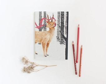 Bullet Journal, Travel Journal, Pocket Notebook, Plain Journal, Sketchbook, Travelers Notebook, A5 Notebook, Deer Illustration, Dot Grid
