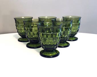 Vintage Avocado Green Colony Whitehall Glass / Textured Footed Glassware / Indiana Glass / Juice Glasses / Mid Century Cubist Glassware