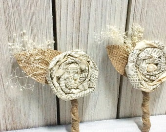 Book Page Boutonniere, Rustic Boutonniere, Paper Boutineer, Paper Rose, Eco Wedding, Customizable (Item: TPG71B)