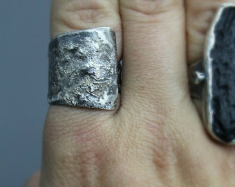 Wrap Ring, Reticulated Silver, Statement Ring, Reticulation Ring, Adjustable Ring, Silver Wrap Ring, Silver Adjustable Ring, Textured Silver