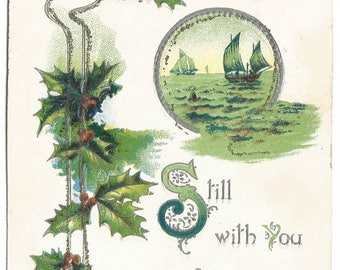 Green Sailboats on Green Sea with Holly leaves and Holy Berries Vintage Postcard Christmas Greetings