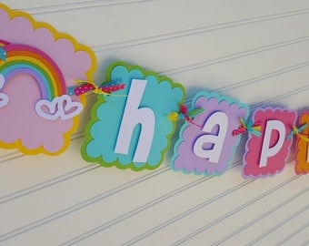 Rainbow Happy Birthday OR Name banner, Rainbow Party decorations. Girls Birthday. Rainbow Banner. Birthday Decorations
