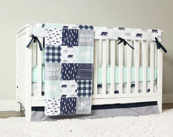 Baby Boy Crib Bedding Set Mint Bear Navy Blue Gray Woodlands Nursery
