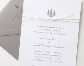 Winter Wedding Invitation Sample - Aspen | Sage Green Wedding Invitation | Tree Wedding Invites | Rustic Wedding Invitations
