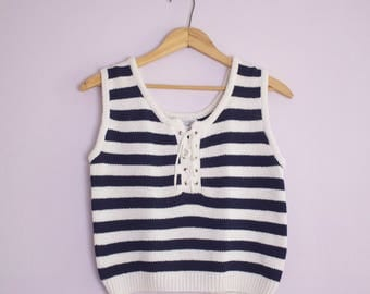 Vintage 1980's Navy Stripe Lace Up Sweater Tank Top S