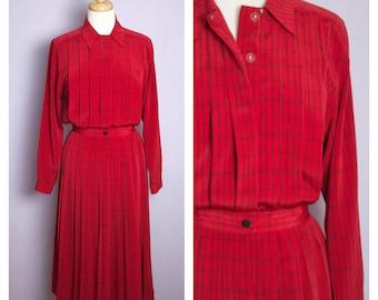 Vintage 1980's Red + Black Long Sleeve Shirt Dress S/M