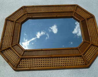 Large Octagonal Faux Bamboo & Cane Mirror by Burwood 1979 USA